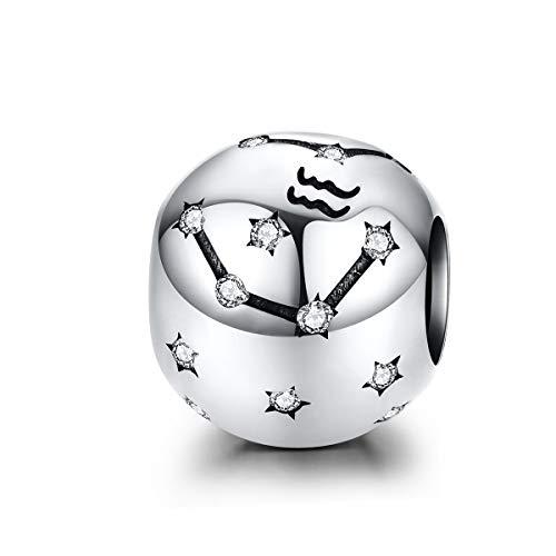 LaMenars Damen 12 Konstellationen Sternzeichen Stern Bead Charms 925 Sterling Silber Anhänger für Pandora, Chamilia & European Charm Armbänder & Halsketten (der Wassermann: 1.20-2.18)