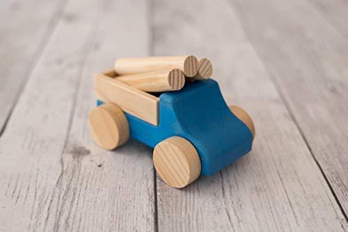 Camión de Madera Azul, juguete Waldorf Ecológico para niños y bebés