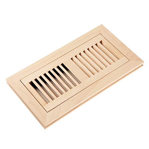 Homewell Maple Wood Floor Register Vent Flush Mount with Frame 4x10 Inch Unfinished