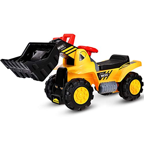 Costzon Kids Ride On Construction Bulldozer, Outdoor Digger Scooper Pulling Cart W Front Loader Digger Horn Underneath Storage, Children Pretend Play Truck Toy (Yellow)