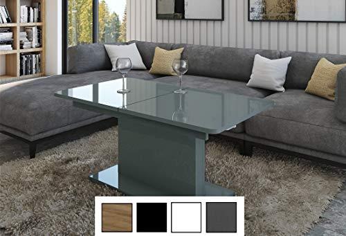 Design Couchtisch Tisch DC-1 Grau Hochglanz stufenlos höhenverstellbar ausziehbar Esstisch