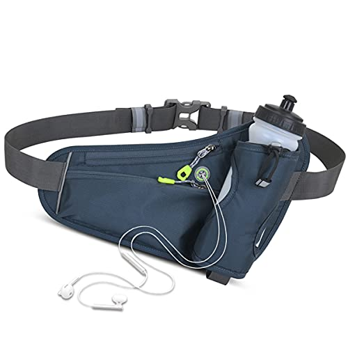 HIKPEED Fanny Pack with Water Bottle Holder 20 OZ, Hiking Fanny Pack for Women Men Running Waist Pack for Phone Up to 6', Running Belt for Hiking Walking Workout Gym Runners (Navy Blue)
