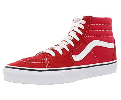 VANS Sk8-Hi Unisex Casual High-Top Skate Shoes, Comfortable and Durable in Signature Waffle Rubber Sole, Racing Red True White, 10 Women/8.5 Men