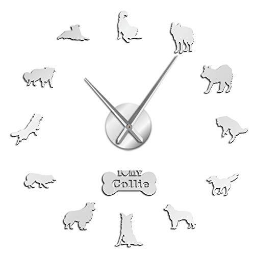 YQMJLF Reloj Pared DIY 3D Grande Border Sheepdog Dog Shepherd Collie Autoadhesivo DIY 3D Reloj de Pared Arte Dormitorio Decoración de la habitación Marido Regalo Jefe Decor Navidad Regalo Plata