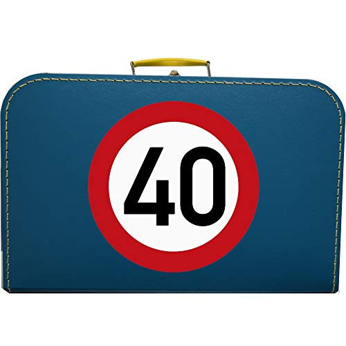Pappkoffer zum 40 Geburtstag - Verkehrsschild Koffergröße 40 x 25,5 x 11 cm, Farbe Petrolblau