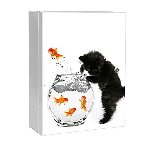 banjado XXL Medizinschrank abschliessbar | großer Arzneischrank 35x46x15cm | Medikamentenschrank aus Metall weiß | Motiv Katze Und Fisch mit 2 Schlüsseln | Gestaltung auf Front