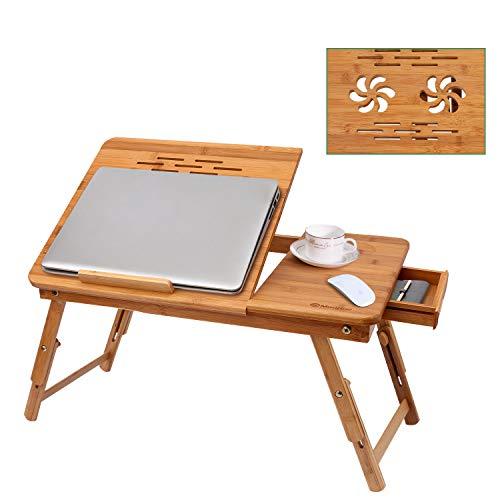 Scrivania per laptop in bambù, vassoio da letto portatile regolabile per servire la colazione con cassetto superiore inclinabile