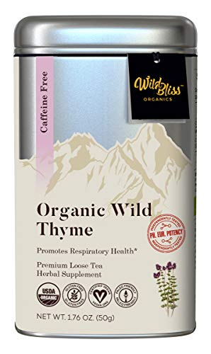 Organic Thyme Herbal Tea - Caffeine Free Loose Leaf Tisane – Pharmacopoeia Grade Potency - 1.76 Ounces (25 Servings)