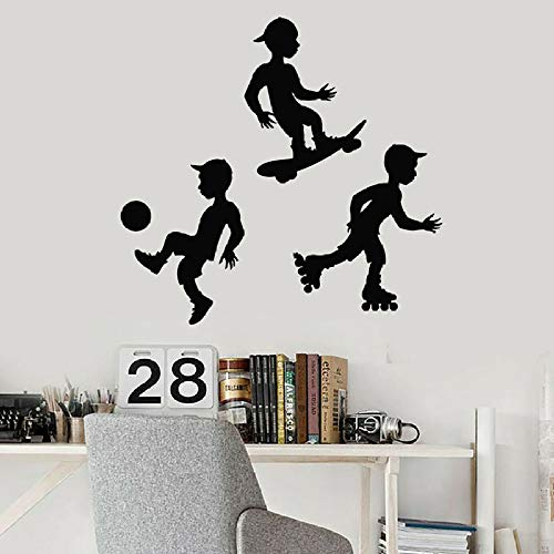 DLYD Fototapete Fußball Skateboard Roller Sport Junge Kinder Schlafzimmer Dekoration Vinyl Fenster Aufkleber Kindergarten kreative Kunst Wandbild 74x77 cm