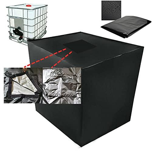 Bâche de réservoir d'eau, Bache pour Cuve 1000 L IBC avec Couvercle rectangulaire 25x25cm et Corde Coupe-Vent, Anti-poussière Anti-UV Anti-Pluie (116 x 100 x 120 cm)