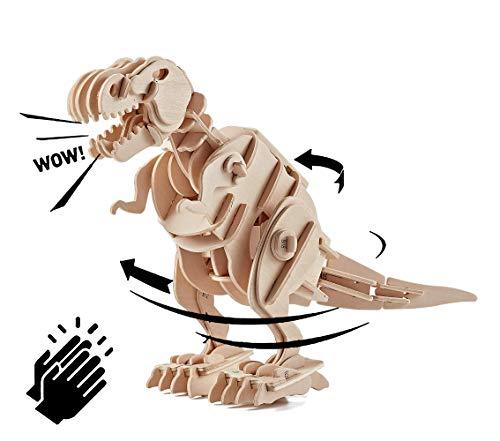 Think Gizmos TG715 - Schallgesteuertes Gehen T-Rex Dinosaurierspielzeug - Bauen Sie Ihr eigenes Holzpuzzle 3D-Modellbausatz T-Rex Spielzeug mit schallempfindlicher Bewegungssteuerung