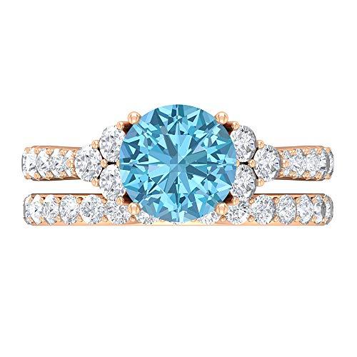 Conjunto de anillos de novia aguamarina, piedra redonda de 3,80 quilates, anillo de moissanita D-VSSI 8 mm, anillo de boda catedral solitario, banda de eternidad apilable, 14K Oro rosa, Size:EU 44