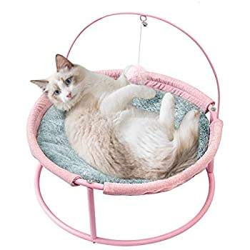 SAVFOX Luxury Soft Comfy PlushIndoor Elevated Cat Bed & Hammock with Stand Detachable Washable and Portable Pet Bed with Dangling Ball for Kitten Cats and Small Dogs Pink and Beige