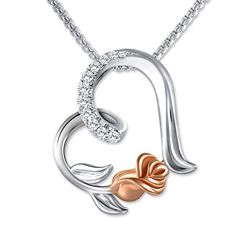 (65% OFF Coupon) Heart & Rose Necklace $8.05