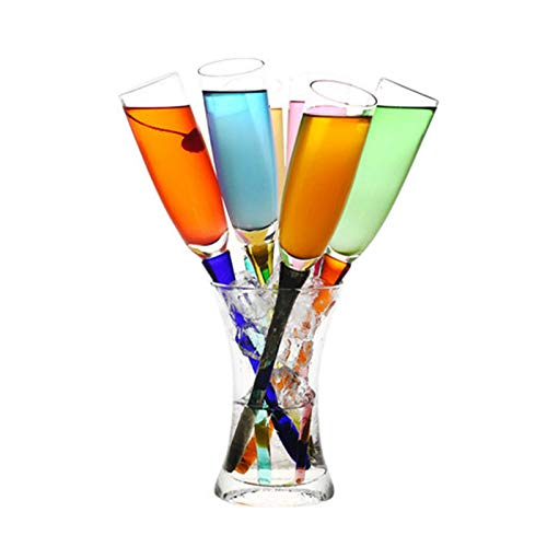 CHUNGEBS Conjunto de 7 vidrios de Beber Multicolor, Seis Colores de Copa de Vino con Cubo de Almacenamiento, diseño de Boca de Botella Lisa, para Barra de casa y Fiesta
