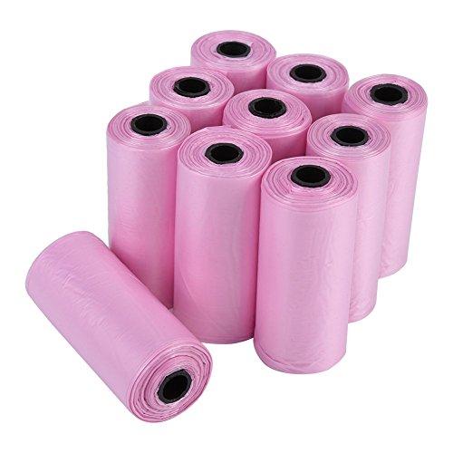 Acogedor 150 stuks hondenhalszak voor honden, groot, biologisch afbreekbaar, geparfumeerd, waterdicht, 20 rollen (zwart/blauw/rood/roze), Roze