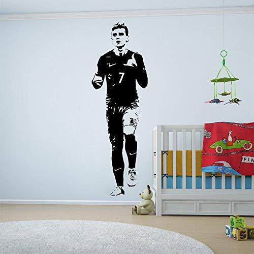 Tianpengyuanshuai Pegatinas de Pared de Jugador de fútbol Sala de niños habitación de niños calcomanía de fútbol Pared Deportiva Vinilo -100x32cm