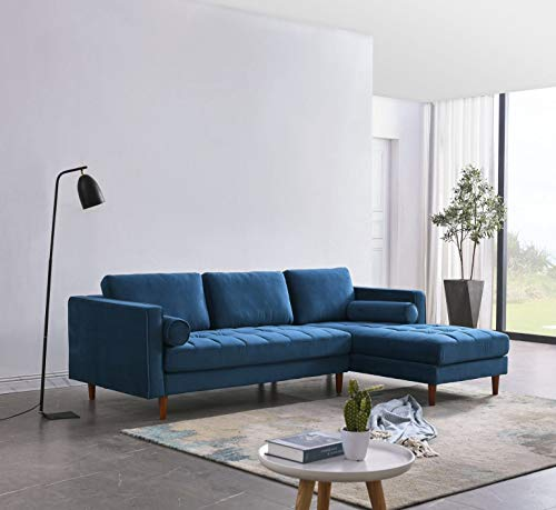 Canapé d'angle 4 places Bleu Confort