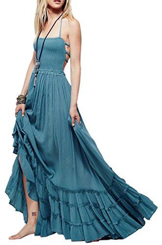 R.Vivimos Womens Summer Cotton Sexy Blackless Long Dresses Small LightBlue
