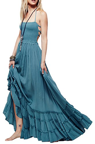 R.Vivimos Womens Summer Cotton Sexy Blackless Long Dresses Small LightBlue