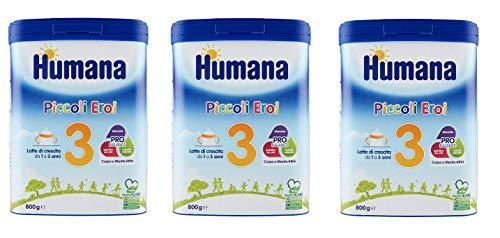 3x Humana Piccoli Eroi Latte di Crescita 3 Wachstumsmilch Milchpulver zum Anrühren von 1 bis 3 Jahren 800g Babynahrung Kindergetränk mit Altersgerechtem Eiweißgehalt