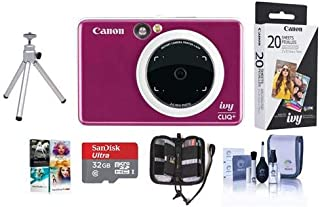 Canon Ivy Cliq+ Instant Camera Printer, Ruby Red - Bundle with 32GB MicroSDHC Card, ZP-2030-20 Zink Photo Paper Pack (20 Sheets), Table Top Tripod, Memory Wallet, Cleaning Kit, Software Pack