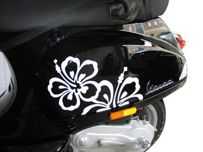 Stickerkits Sticker voor Vespa S Roller & Scooter Hibiscus (wit)