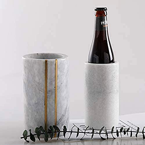 Marble Wine Chiller Bucket- Wine Cooler & Champagne Bucket for Cocktail Bar, Parties, & Kitchen Utensil Holder-Wine Chillers Single Bottle Ice Bucket- Ideal Gift for Wine Lovers