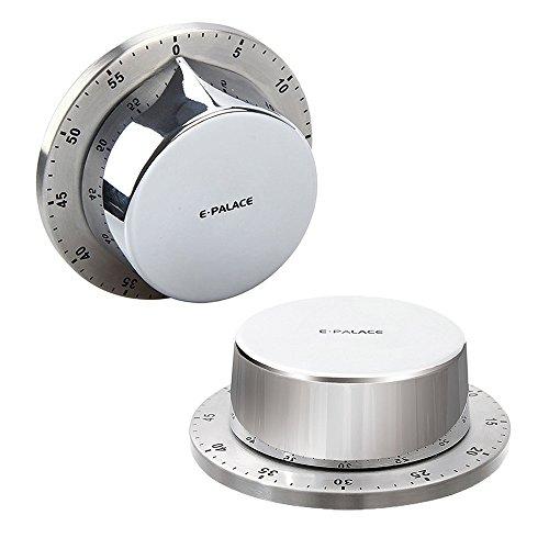 Timer da cucina, timer da cucina con supporto magnetico, corpo in acciaio inox, timer per conto alla rovescia meccanico, promemoria da cucina - colore argento