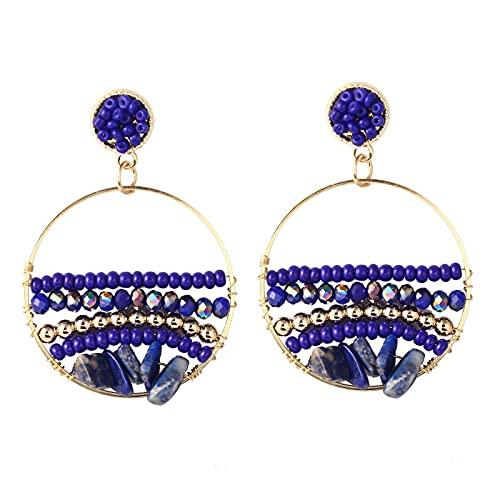 xiangwang Pendientes bohemios hechos a mano con cuentas para mujer 2021 Moda Boho Acrílico Cuentas de Cristal Piedra Pendiente Vintage Joyería (Color de metal: E971-4 Azul)