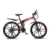MENG 26 en Bicicleta/Bicicletas de Montaña de Ruedas para Hombres Y Mujeres Mde Acero Al Carbono 21 Velocidades con Doble Suspensión Bifurcación Frontal de Absorción de Choques (Tamaño: 27 Velocida