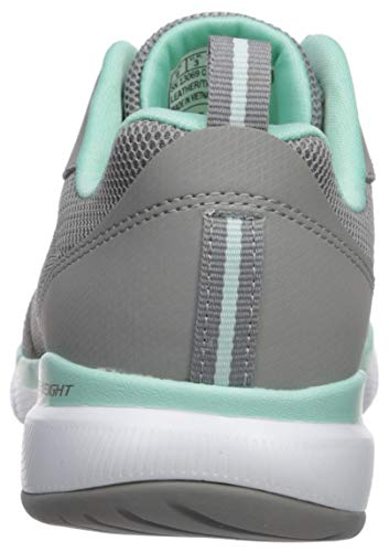 Skechers Women's Flex Appeal 3.0-go Forward Trainers, Grey Gray Leather Mesh Mint Trim Gymn, 5 UK