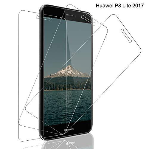 SNUNGPHIR® Cristal Templado Huawei P8 Lite 2017,[3-Pack] Protector Pantalla Huawei P8 Lite 2017 Cristal Templado [2.5d Borde Redondo][9H Dureza][Alta Definición][Anti-Arañazos][Anti-Huella Digital]