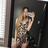 BVBVBV Corsés para Mujer Conjuntos de lencería para Mujer Pijama Sexy Traje con Estampado de Leopardo Seda de imitación Servicio a Domicilio Estampado de Leopardo M