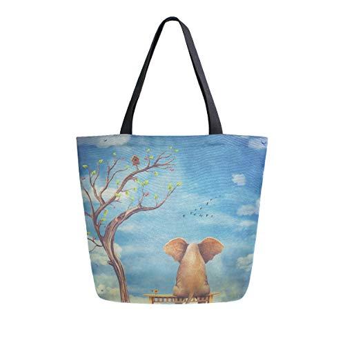 MNSRUU Sad Elefanten-Bank Baum Lebensmittel-Einkaufstasche für Frauen, groß, lässig, Schultertasche für Einkaufen, Lebensmittel und Reisen im Freien