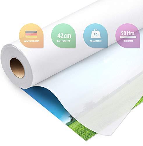 ELES VIDA Schnittmusterpapier Rolle 42 cm x 50 Laufmeter 50g /m – Premium Blanko Transparent Papier Rolle – Zeichenpapier, Schnittmuster zum Nähen für Schneider, Papierschnittmuster