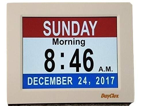 DayClox Memory Loss Digital Calendar 5-Cycle Clock with Red White & Blue or Black & White Section Display