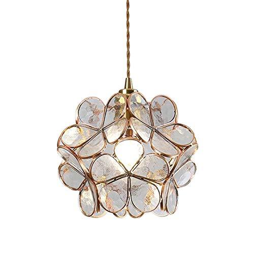 HJXDtech 引掛け式 ペンダントライト 3D桜の花のモザイクガラスランプシェード付き E26真鍮口金 LED対応 居間 食卓 玄関 天井吊りランプ 間接照明 (透明)