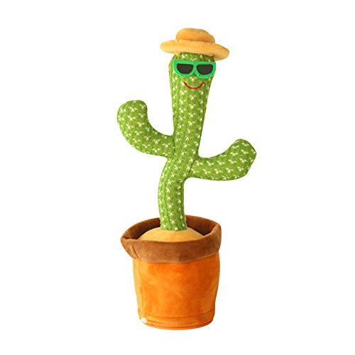 HeiHeiDa Kaktus Plüsch-Spielzeug,Tanzendes und Singender Kaktus, Wiederholt was Sie Sagen Mimikry Pflanze Elektronische Sprechende Aufzeichnung Interaktives Spielzeug