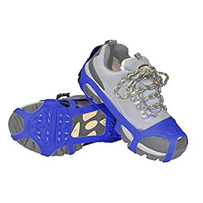 ORIENTOOLS Snow/Ice Cleat/Shoes Traction Snow Grips Cleats for Walking, Jogging, or Hiking on Snow and Ice (Blue, L/XL)