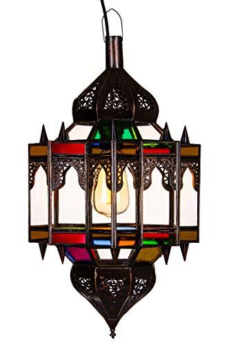 Orientalische Lampe Pendelleuchte Bunt Alia 50cm E27 Lampenfassung | Marokkanische Design Hängeleuchte Leuchte aus Marokko | Orient Lampen für Wohnzimmer Küche oder Hängend über den Esstisch