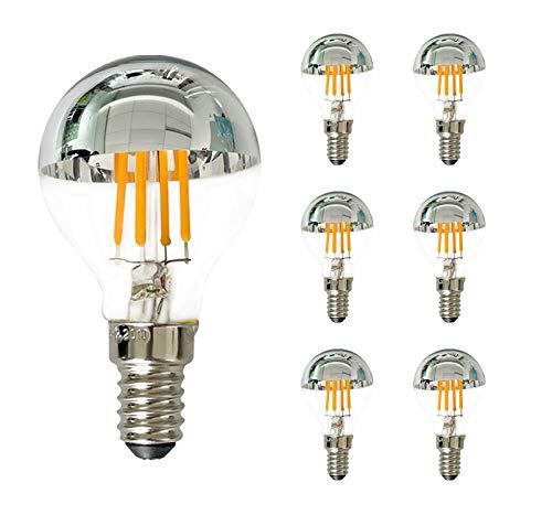 Edison LED-Lampe G45 / G14 4W, LED-Glühbirne mit silberner Spitze, 40-Watt-Äquivalent, Kandelabersockel E14, warmweiß 2700K, dimmbar -6Pack