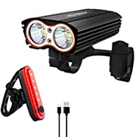 Gluckluz Bicycle Light Set Bike Cycling Headlight Taillight Kit Waterproof Front Rear Light Sets for Mountain Bicycle...