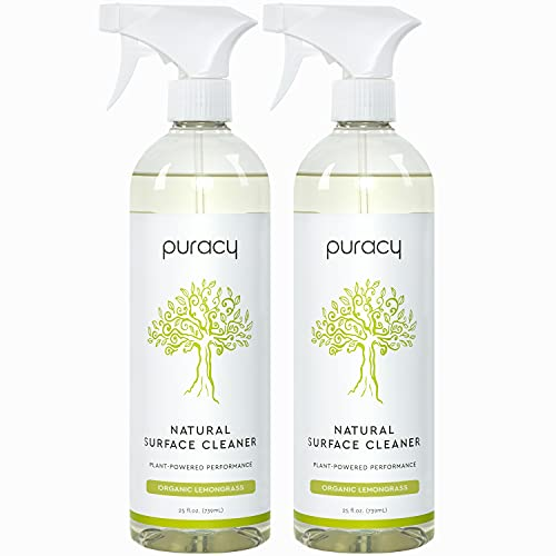 Puracy Multi-Surface Cleaner, Organic Lemongrass, Streak-Free Natural All Purpose Cleaner for Kitchens and Bathrooms, 25 Fl Oz (2-Pack)