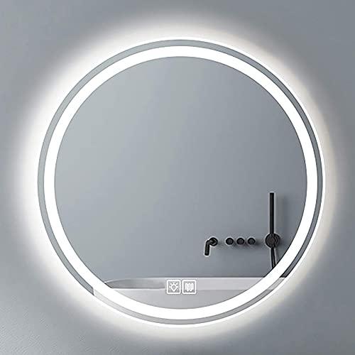 ZCZZ Espejo de baño LED Redondo Iluminado, Espejo de tocador de Pared Regulable con Interruptor táctil y 3 Colores de luz, IP44 a Prueba de Agua