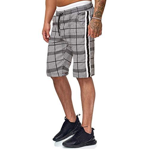 MINIKIMI korte sportbroek heren joggingbroek met strepen bermuda geruit chino jogger broek stijlvolle stretch fitness sportbroek met koord grote maten S-2Xl