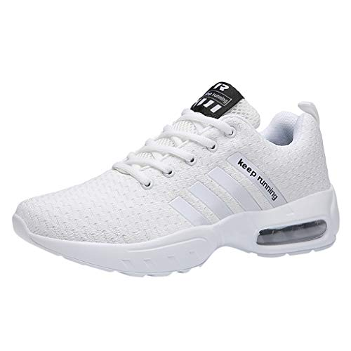 Alwayswin Herren Jungen Mesh Atmungsaktive Turnschuhe Casual Outdoor-Sportschuhe Einfarbige Schnüren Sneakers Bequeme Luftkissen Laufschuhe Leichte rutschfeste Schuhe