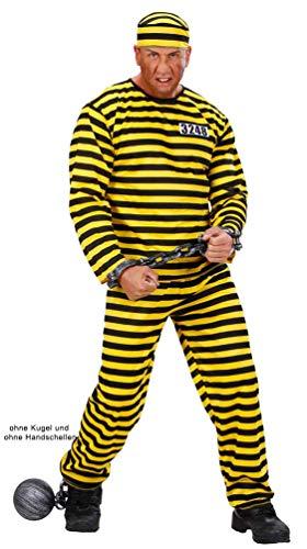 Karneval-Klamotten Sträfling Kostüm Herren gelb schwarz mit Mütze Sträflingskostüm Herren-Kostüm