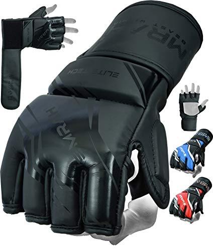 EMRAH V-1 MMA Handschuhe für Sparring, Kampfsport, Training, Pro Grip Grappling Mitts, Käfig, Boxsack, Muay Thai und Kickboxen, Matte Black, L