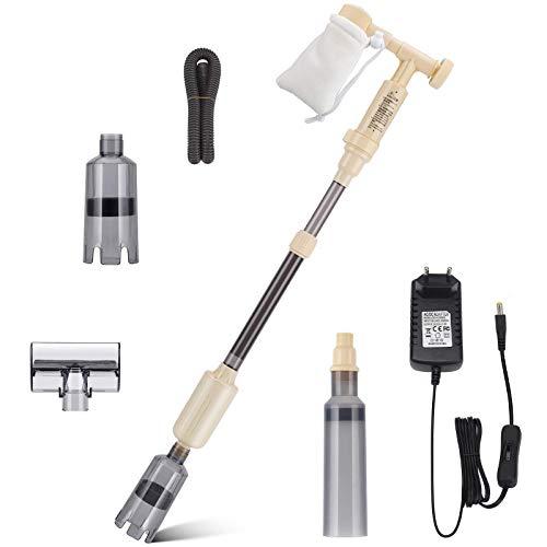 bedee 6 en 1 Limpiador Eléctrico para Acuarios,Extractor de Lodos Automático,Usado para Cambiador Agua Lavadora de Arena Limpieza de Escombros Kit de del Filtro Agua,Flujo de Agua Ajustable,12V 18W